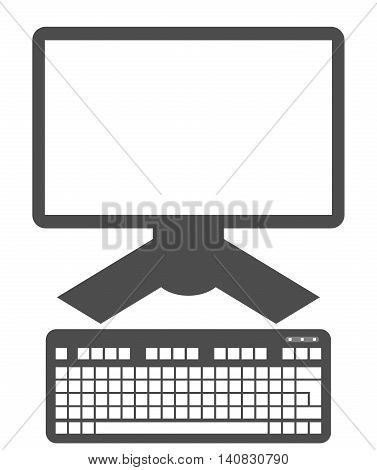 Computer display and keyboard icon isolated on white background. Computer screen. Monitor and keyboard clip art.