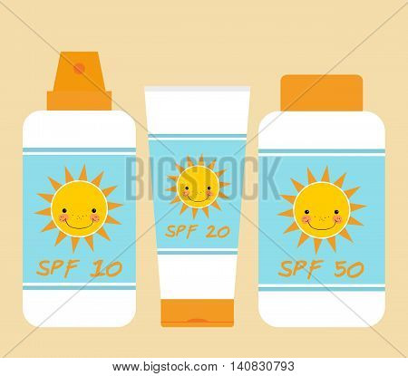 Cute bottles of sunscreen with different SPF (sun protection factor). Smiling sun motif. Bottles of sunscreen with sun motif. Flat style. Tube container of sun cream. Summer sun tanning and sunscreen concept. Sun care cosmetics. Summer theme. Isolated. Pa