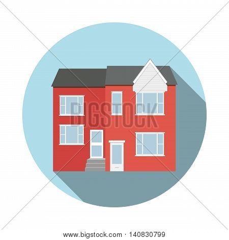 Duplex house flat icon with long shadow in circle frame. Real estate object poster