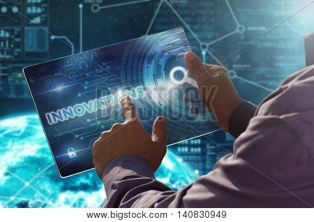 Internet. Business. Technology Concept.businessman Presses A Button Innovations On The Virtual Scree