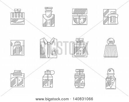 Mens fragrances and perfumeries. Different bottles with perfumes. Male cosmetic and accessories. Flat line style vector icons collection.