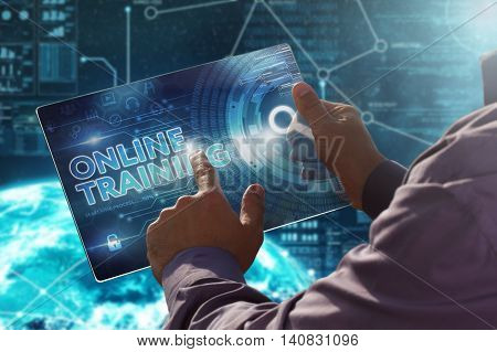 Internet. Business. Technology Concept.businessman Presses A Button Online Training On The Virtual S
