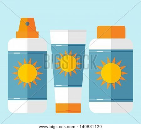 Bottles of sunscreen and after sun lotion with sun motif isolated on pale blue background. Flat style. Tube container of sun cream or after sunburn cream. Summer sun tanning and sunscreen concept. Sun care cosmetics. Summer theme