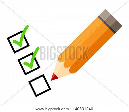 Checklist and pencil. Tick icons. Check mark. Isolated. White background. Red pencil. Green check mark. Green tick icon