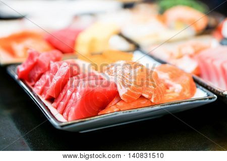 Close up fresh sashimi set with the selective focus