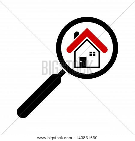 Search house icon Isolated on White background. Magnifying glass. Real estate.