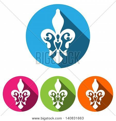 Set of four white silhouettes fleur de lis (french lily) in a circle with long shadow. French lily icon isolated on a white background.