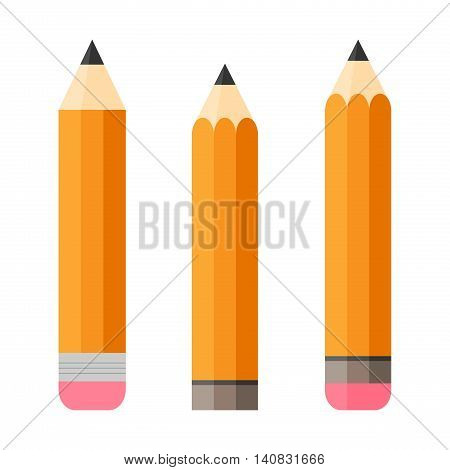 Set of three pencils with erasers Isolated on white background. Flat design. Writing implements Vertically oriented.