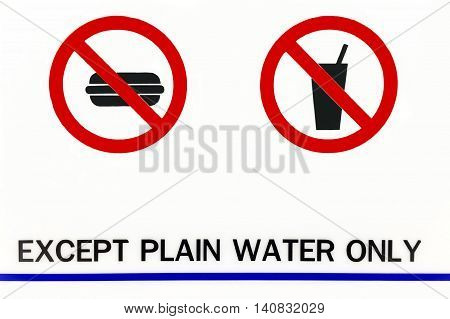Except plain water only. information label made form cut sticker put on white acrylic board.