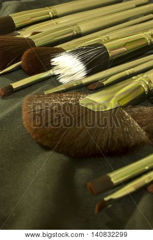 This is a photograph of Makeup brushes set
