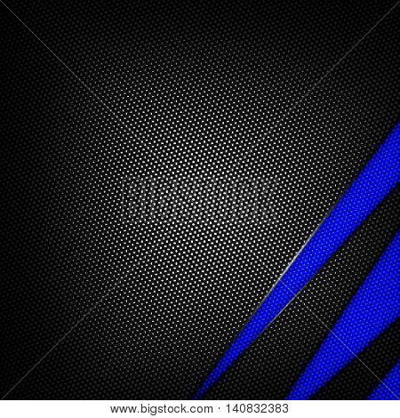 blue and black carbon fiber background. 3d illustration material design. racing style.