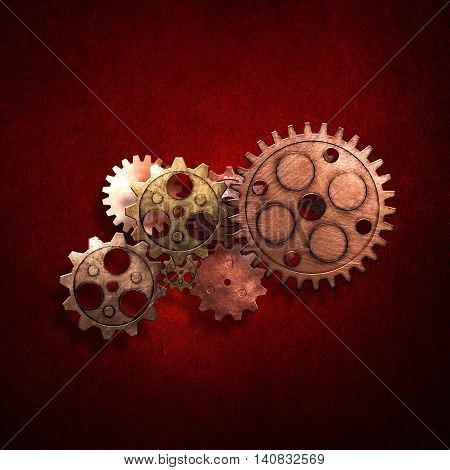 copper and brass gears on the red metallic wall. 3d illustration. material design. red vintage style background.