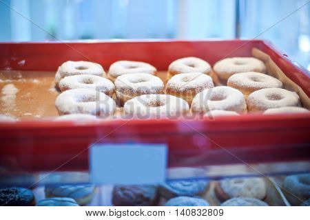 Delicious Sugary Donuts In Red Tray
