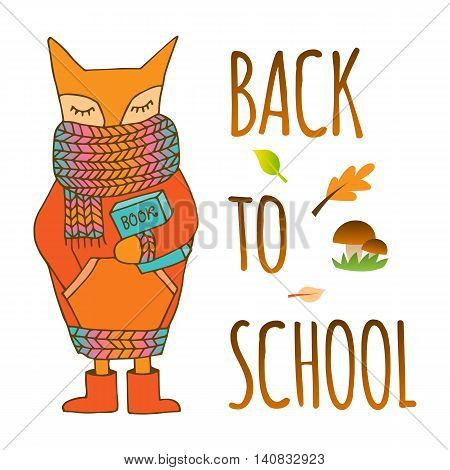Back to school. Doodle fox in a scarf and with a book in his hands. Hand drawn illustrations.