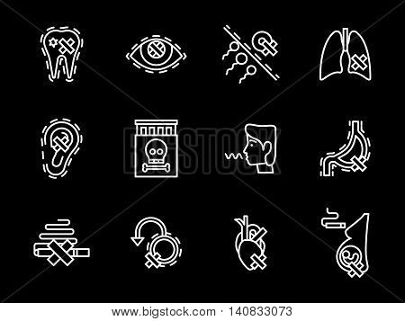Harmful and dangers of smoking for lungs, heart, reproductive system and other human organs. Social problems. Set of flat white line vector icons on black background.