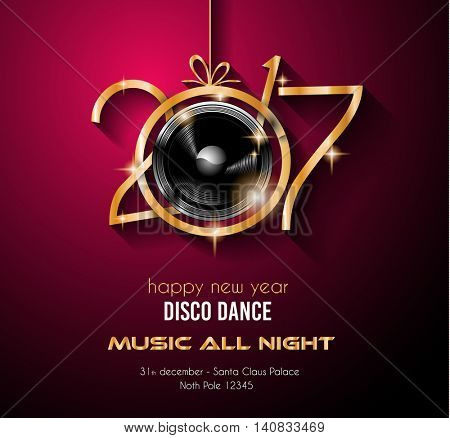 2017 Happy New Year Party Background for your Flyers and Greetings Card. Ideal for 30st dicember discoteque nighclub events!
