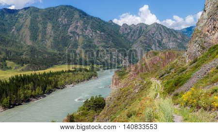 Mountains forests and rivers of the Altai Territory. Russia.