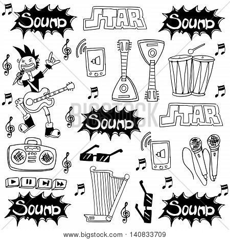 Doodle of music tools collection stock vector art