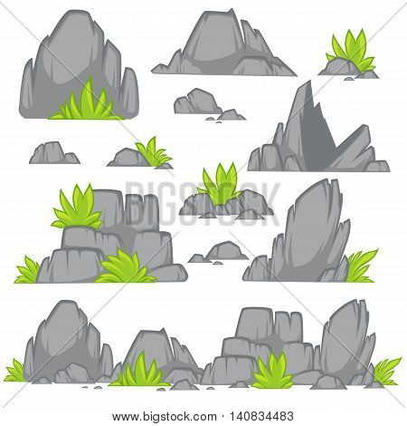 Rock stone cartoon flat style. Set of different boulders with grass. Vector Illustration.