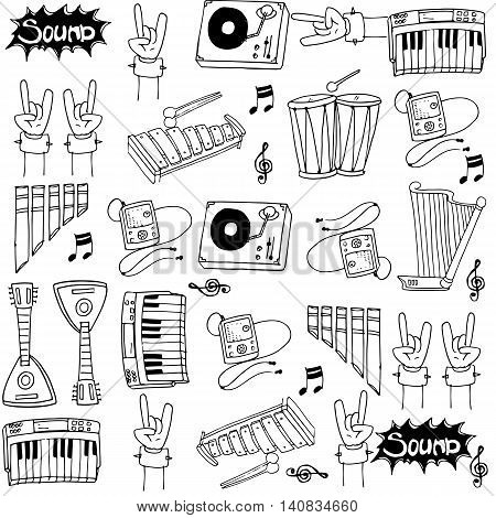Doodle of music hand draw vector collection stock