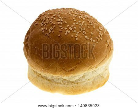 round wheat bread isolated on white background