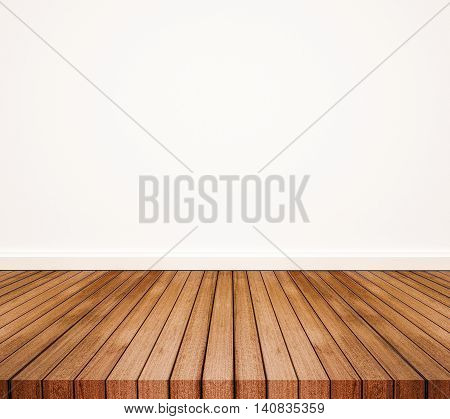 Wood floor with white wall, with copy space