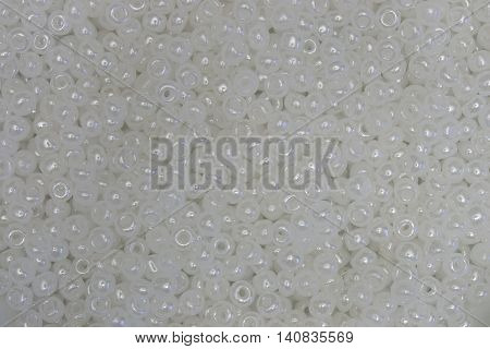 This is a photograph of Pearl White seed beads