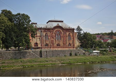 UZHGOROD UKRAINE - AUGUST 3 2015: The building of the regional philharmonic society. Previously there was a Jewish synagogue
