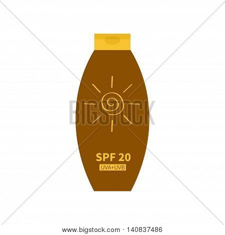 Tube of sunscreen suntan cream. After sun lotion. Bottle dispenser. Solar defence. Spiral sign symbol icon. SPF 20 sun protection factor. UVA UVB sunscreen. Isolated. White background. Flat Vector
