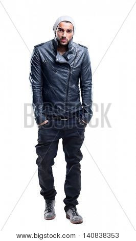 Handsome young man full body portrait  in the studio