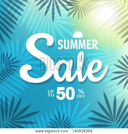 Summer Sale Banner, With Gradient Mesh, Vector Illustration