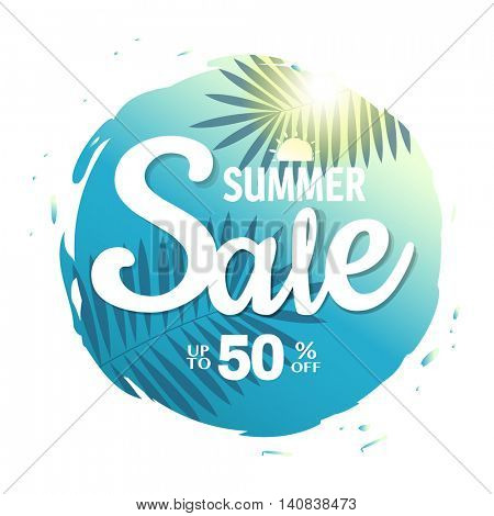 Summer Sale Poster, With Gradient Mesh, Vector Illustration