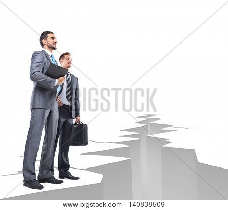 Business men overcome obstacles