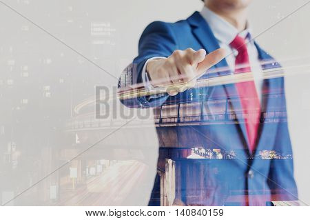 Double Exposure Of Confident Businessman Dissolved With Night Cityscape