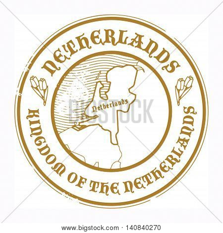 Grunge rubber stamp with the name and map of Netherland, vector illustration