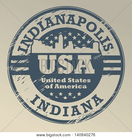 Grunge rubber stamp with name of Indiana, Indianapolis, vector illustration
