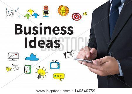 Business Ideas businessman working use smartphone Warm tone man use computer