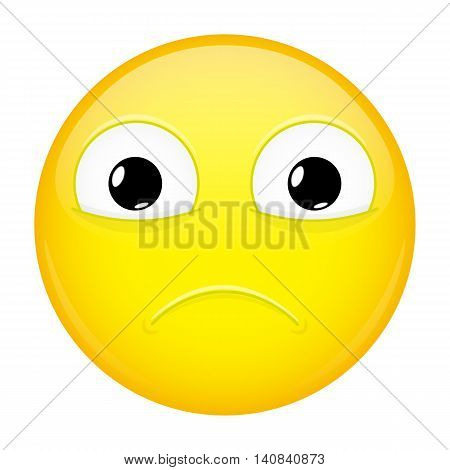 Sad emoji. Sorrow emotion. Hurt emoticon. Vector illustration smile icon.