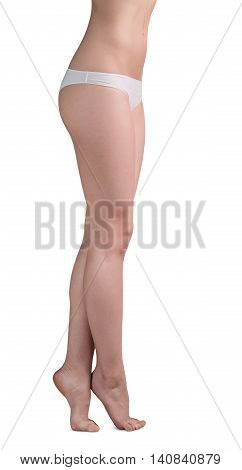 Beautiful woman legs on tiptoe isolated on white