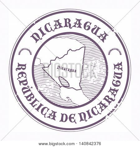 Grunge rubber stamp with the name and map of Nicaragua, vector illustration