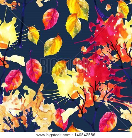 Watercolor autumn trees and falling leaves seamless pattern. Watercolour trees with colorful foliage. Hand painted illustration on dark blue background