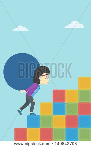 An asian woman rising up on the colored cubes and carrying a big stone on her back. Woman with huge concrete ball going up. Vector flat design illustration. Vertical layout.