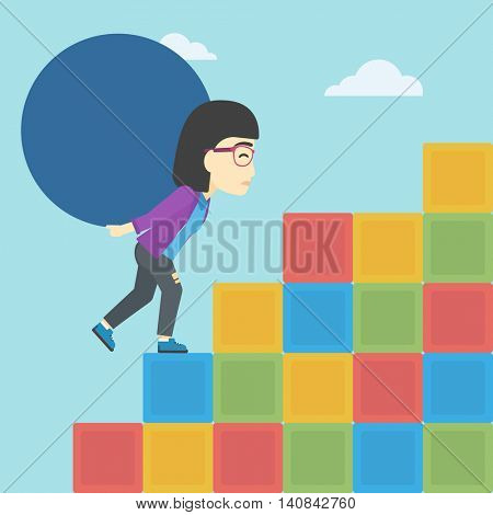 An asian woman rising up on the colored cubes and carrying a big stone on her back. Woman with huge concrete ball going up. Vector flat design illustration. Square layout.