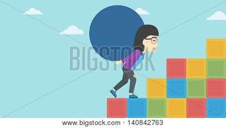 An asian woman rising up on the colored cubes and carrying a big stone on her back. Woman with huge concrete ball going up. Vector flat design illustration. Horizontal layout.