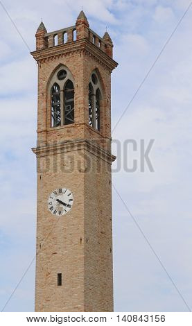Small Church Tower With Clock