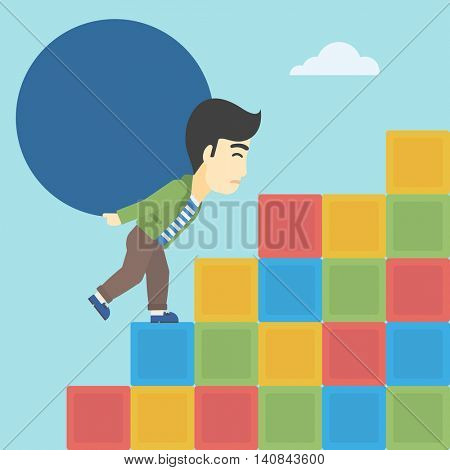 An asian man rising up on the colored cubes and carrying a big stone on his back. Man with huge concrete ball. Vector flat design illustration. Square layout.
