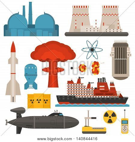 Fossil-fuel power and renewable energy generating electricity nuclear energy vector illustration. Atomic technology industry electric nuclear energy. Nuclear energy turbine pollution industrial sign.