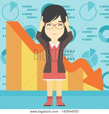 An asian female bankrupt clutching her head. Female bankrupt with a big question mark above her head. Concept of business bankruptcy. Vector flat design illustration. Square layout.