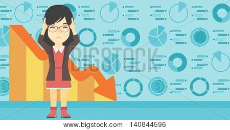 An asian female bankrupt clutching her head. Female bankrupt with a big question mark above her head. Concept of business bankruptcy. Vector flat design illustration. Horizontal layout.