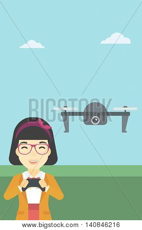 An asian woman flying drone with remote control. Happy woman operating a drone with remote control. Woman controling a drone. Vector flat design illustration. Vertical layout.